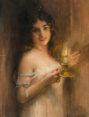 Leon Francois Comerre. Young woman with a candle.