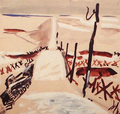 Alexander Alexandrovich Deineka. Landscape with the tank