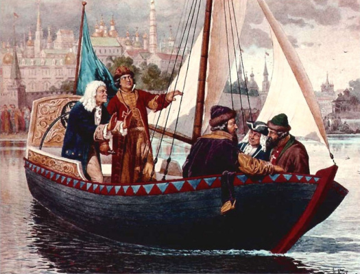 Alexey Danilovich Kivshenko. Peter I at the wheel of a sailing boat on the Yauza river
