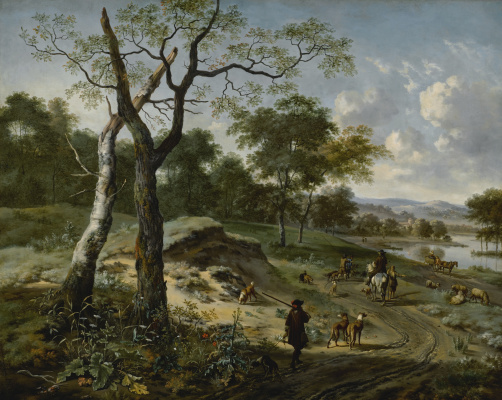 Yang Veinants. Wooded Evening Landscape With A Hunter And His Dogs