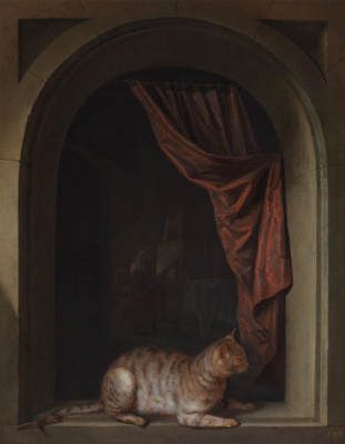 Gerrit (Gerard) Dow. Cat lying on the windowsill at the artist's studio