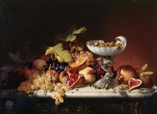 Иоганн Вильгельм Прейер. Натюрморт с фруктами. 1836