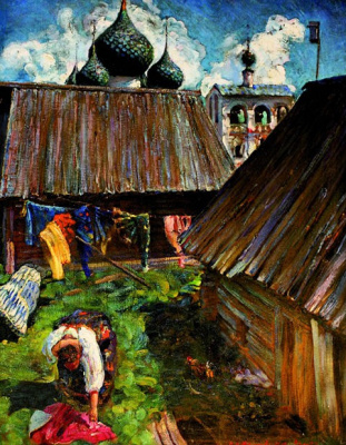 Vasily Nikitich Meshkov. In the yard. Uglich.
