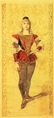 """Alphonse Mucha. Costume Paige. Sketch illustration for the magazine """"costume in the theatre"""""""