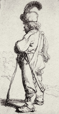 Rembrandt Harmenszoon van Rijn. A pole with a stick and a sword