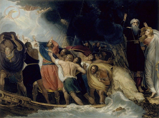 """George Romney. Illustration to the 1st scene of the first act of Shakespeare's play """"The Tempest"""""""