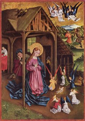 Иоганн Кёрбеке. Мариенфельдский алтарь, левая створка, сцена внизу слева. Рождество Христово