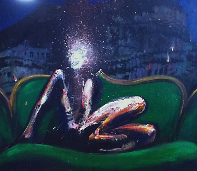 Nikolai margin. Woman on green couch