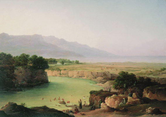 Nikanor Grigorievich Chernetsov. View of the Jordan river at the confluence of the Dead sea. 1854
