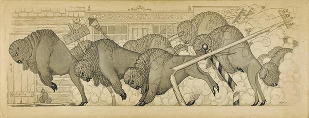 "Grant Wood. Running bulls. A Series Of ""Savage Iowa"""