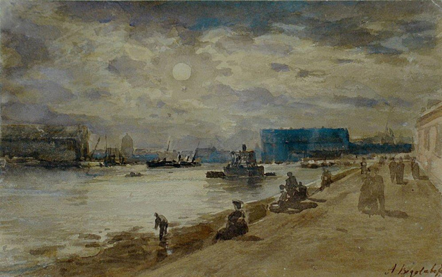 Alexey Petrovich Bogolyubov. Moonlit night on the river. Petersburg