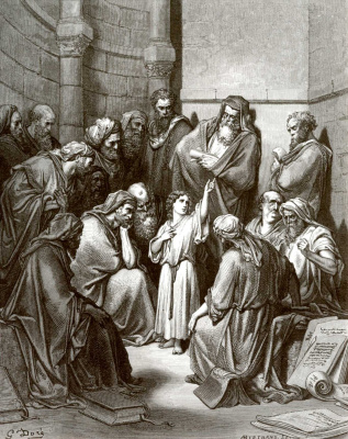 Paul Gustave Dore. Illustration to the Bible: The Child Jesus in the Temple