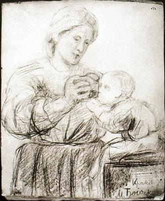Михаил Львович Бойчук. Мать,которая дает ребенку напиться.