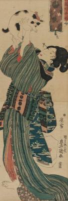Utagawa Kunisada. A woman playing with a kitten