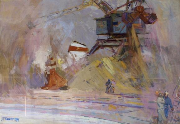 Petr Kuzmich Stolyarenko. In the port