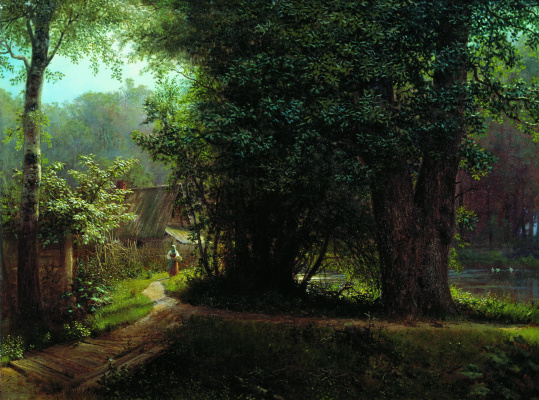 Lev Feliksovich Lagorio. Landscape with trees, houses and the river