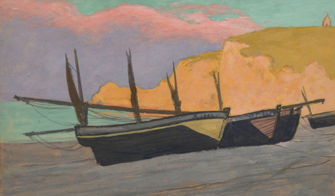 Jean Francis Ouurten. Boats at Etretat