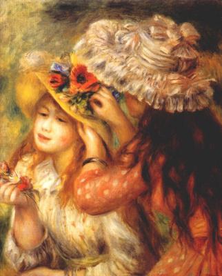 Пьер Огюст Ренуар. Девочки, украшающие цветами свои шляпки
