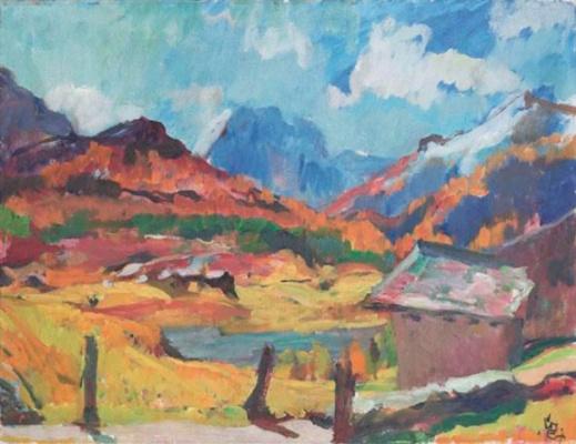 Giovanni Giacometti. Autumn landscape in the Engadine