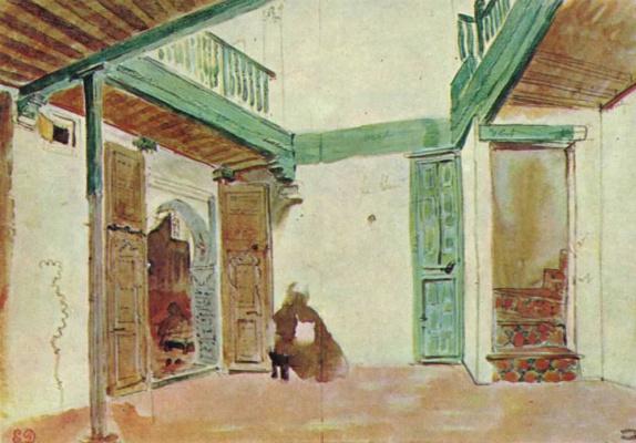 Eugene Delacroix. Moroccan courtyard house