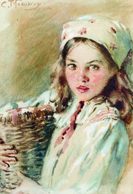 Konstantin Makovsky. Head of a girl in a headscarf