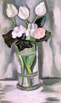 Marsden Hartley. White flowers in a glass vase