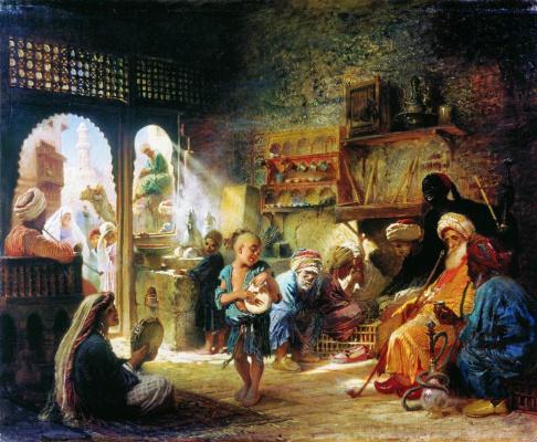 Konstantin Makovsky. In a Cairo coffee shop
