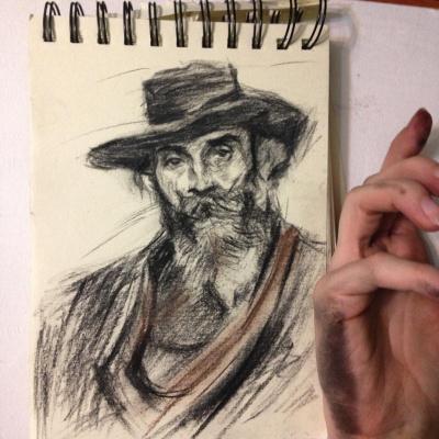 Александра Морозова. Портрет старика в шляпе