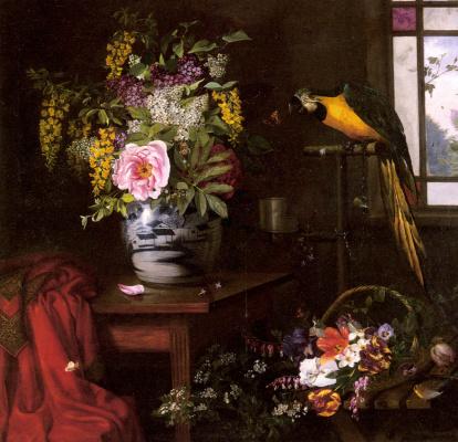 Натюрморт с вазой, корзиной и попугаем