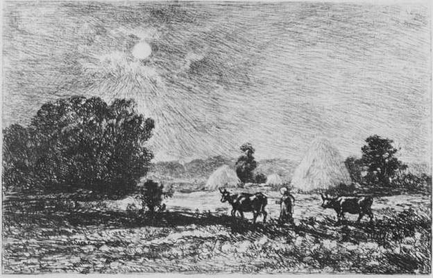 Charles-Francois Daubigny. The full moon in Valmondois