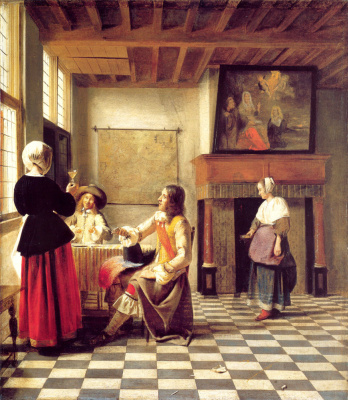 Pieter de Hooch. A woman drinking with two men and a maid