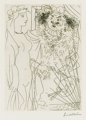 Pablo Picasso. Suite Vollard (081). Rembrandt and a woman in a veil