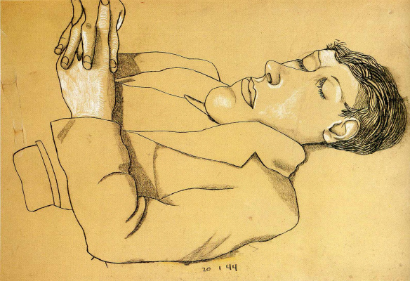 Lucien Freud. Man with folded arms