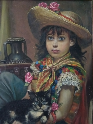 "Alexander Serdyukov. ""Girl with a kitten"""