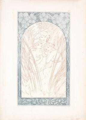 Alphonse Mucha. Decorative sheet No. 3. Sketch