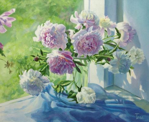 "Natalia Vladimirovna Ilyina. ""Peonies on the window"""
