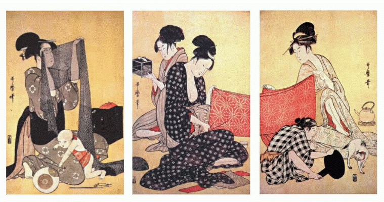 Kitagawa Utamaro. Women make dresses 1-Triptych