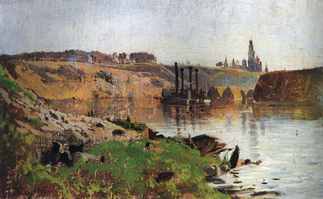 Isaac Levitan. On the river (Steamboat on the Volga)
