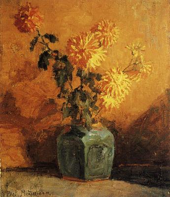 Пит Мондриан. Желтые хризантемы  в вазе