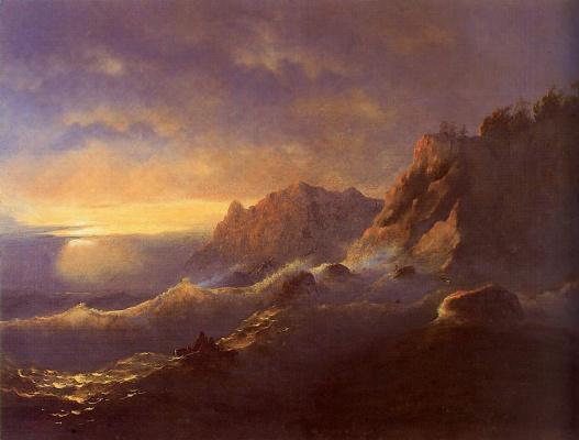 Ivan Aivazovsky. Storm. Sunset