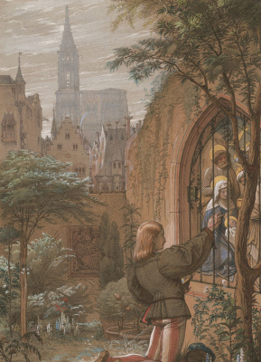 Эдуард фон Штейнле. Странствующий студент в саду рыцаря Вельтлина Страсбургского