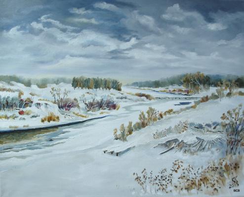Сергей Витальевич водолазкин. Река зимой. Вид на мост