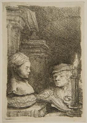 Rembrandt Harmenszoon van Rijn. Man drawing a plaster model by the candle light