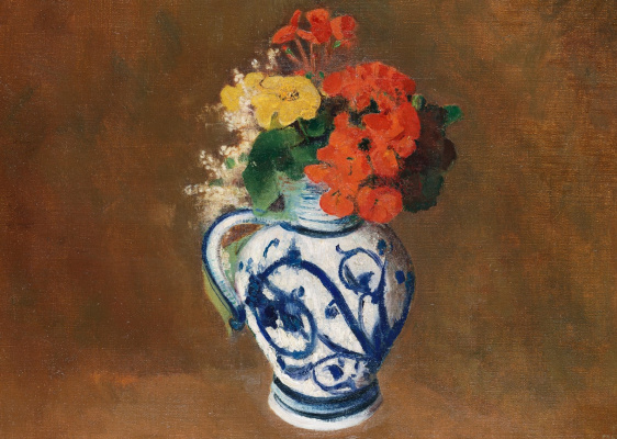 Odilon Redon. Geranium and other flowers in a ceramic vase