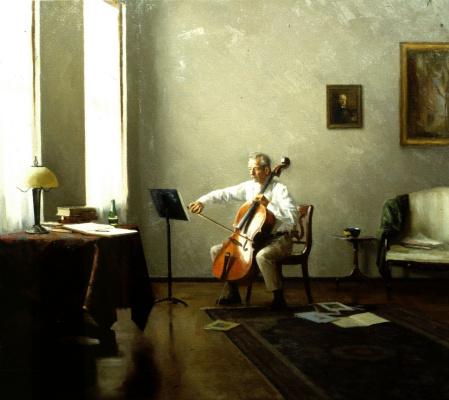 Стивен Дж Левин. Мужчина играет на виолончели
