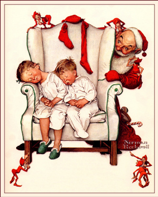 Norman Rockwell. Waiting for Santa