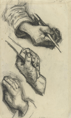 Vincent van Gogh. Three hands, two with knives
