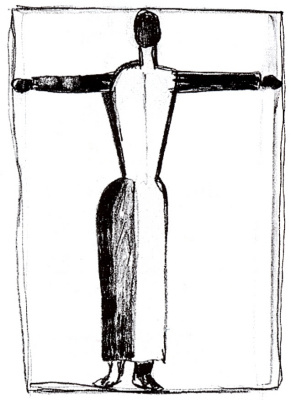 Kazimir Malevich. Figure in the form of a cross with arms raised
