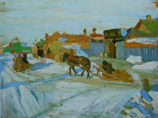 Konstantin Fedorovich Yuon. Sunny winter's day. Etude. 1916