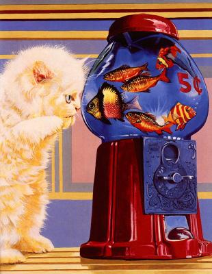 Валь и Рон Линдхан. Белый котенок и рыбы